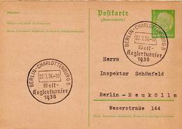 Germany ( Deutsches Reich) Postal Stationery Card From 1936 With Berlin-Charlottenburg Welt-Reglerturnier Cancel - Germany