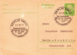 Germany ( Deutsches Reich) Postal Stationery Card From 1935 With Berlin NW40 Internationaler Sportarzte Cancel - Germany