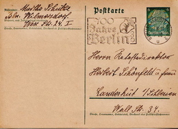 Germany ( Deutsches Reich) Used Postal Stationery Card From 1937 With 100 Jahre Berlin Cancel - Germany