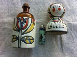 Bouteille Lavande Céramique ,année 50/60,signé,un Fele. - Art Asiatique