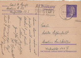 Germany ( Deutsches Reich) Used Postal Stationery Card From 1943 With Altstoff Cancel - Germany