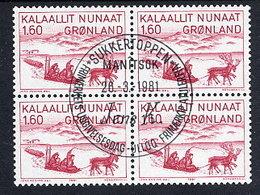 GREENLAND 1981 Art II In Used  Block Of 4.  Michel 128 - Greenland