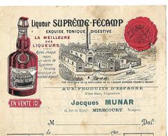 Facture / Dessus Facturette (14 X 10 Cm) 1919 / 76 FECAMP / Liqueur SUPREME-FECAMP / 88 MIRECOURT J.MUNAR - France