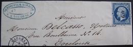 R1712/12 - LETTRE PARTIELLE - NAP III N°14Aa Bleu Foncé - LUXE - CARAMAN En Haute Garonne (PC 609 / INDICE 7) > TOULOUSE - 1853-1860 Napoleon III