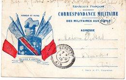 FRANCHISE MILITAIRE - CPFM - CORRESPONDANCE MILITAIRE - Faisceau De 4 Drapeau Et Portrait Du Général JOFFRE - Military Service Stampless