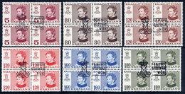 GREENLAND 1978-79 Definitive Inscribed Kalaallit Nunaat In Used Blocks Of 4,  Michel 106-08, 112-14 - Greenland