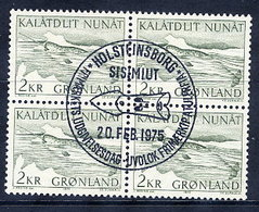 GREENLAND 1975 Narwhal In Used Corner Block Of 4,  Michel 92 - Greenland