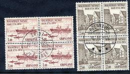 GREENLAND 1974 Bicentenary Of KGH In Used Blocks Of 4,  Michel 88-89 - Greenland