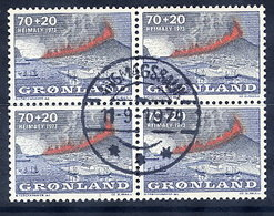 GREENLAND 1973 Heimaey Eruption Fund In Used Block Of 4,  Michel 6 - Greenland