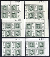 GREENLAND 1973 Definitive 10 Øre, Six Different Printings In Corner Blocks Of 4 MNH / **.  Michel 84x,y - Unused Stamps
