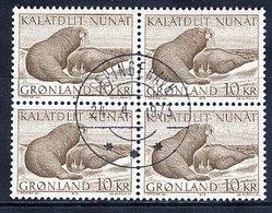 GREENLAND 1973 Walrus 25 Kr, In Used Block Of 4.  Michel 83 - Greenland