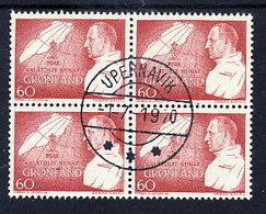 GREENLAND 1969 Birthday Of King Frederik IX. In Used Block Of 4.  Michel 72 - Greenland
