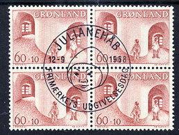 GREENLAND 1968 Children's Fund In Used Block Of 4.  Michel 70 - Greenland