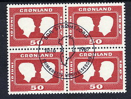 GREENLAND 1967 Royal Wedding In Used Block Of 4.  Michel 67 - Greenland
