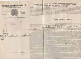 Tonnay-Charente To London  : Connaissement 1919 ... 2 Cases Of Brandy   (CAT 1182) - Transport