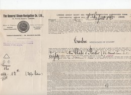 Tonnay-Charente To London?  : Connaissement 1920 ... 12 Hogsheads Of Brandy   (CAT 1184) - Transport