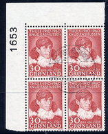 GREENLAND 1960 Anniversary Of Thule Mission In Used Corner Block Of 4.  Michel 45 - Greenland
