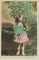Petite Fille Entourée De Trèfles à 4 Feuilles Cachet De La Poste 1912 - Portraits