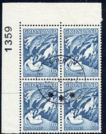 GREENLAND 1957 Greenland Sagas I In Used Corner Block Of 4.  Michel 39 - Greenland