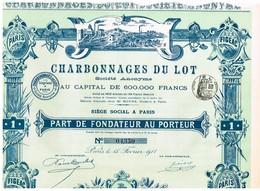 Ancienne Action - Charbonnages Du Lot Sté Anonyme - Titre De 1911 - - Mines