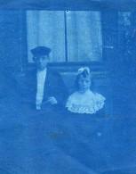 France Portrait Enfants En Costumes Traditionnels Ancienne Photo Cyanotype 1900 - Anonymous Persons