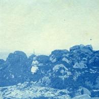 France Bretagne Scene De Bord De Mer Rocher Ancienne Photo Cyanotype 1900 - Places