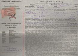 La Pallice-Anvers -Australie  : Connaissement 1912 ...2 Barriques 1 Caisse 3 Colis    (CAT 1187) - Transport