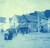 France Bretagne Scene De Bord De Mer Village Ancienne Photo Cyanotype 1900 - Places
