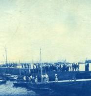 France Bretagne Scene De Bord De Mer Bateaux Ancienne Photo Cyanotype 1900 - Places