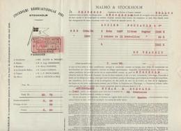 Cognac à Stockholm  : Connaissement 1913 ...3 Futs  Une Caisse     (CAT 1188) - Transport