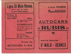 Horaires Autocars Rubis. Louis Pages  St Malo - Europe