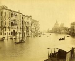 Italie Venise Le Grand Canal Gondoles Basilique Cathédrale Saint-Marc Ancienne Photo 1890 - Photographs