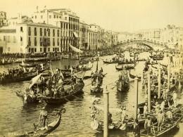 Italie Venise Scene Animée Régate Sur Le Grand Canal Ancienne Photo 1891 - Photographs