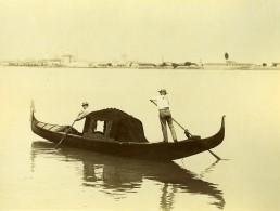 Italie Venise Gondole Et Gondolier Gondola Ancienne Photo 1890 - Photographs