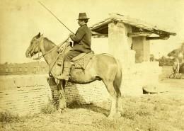 Italie Environs De Naples? Paysan Sur Son Cheval Ancienne Photo 1890 - Photographs