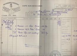 La Pallice à Pondichery    : Connaissement 1935  ...10 Colis  Bouteilles  (CAT 1190) - Transport
