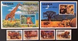 Uganda 1991** Mi.960-63 + Bl.148-49 Animals [20;26-27] - Timbres