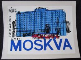 HOTEL CAMPING INN MOSKVA GOTTWALDOV CSSR CZECH REPUBLIC CZECHOSLOVAKIA LUGGAGE LABEL ETIQUETTE AUFKLEBER DECAL STICKER - Etiketten Van Hotels