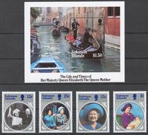 Solomon Islands 1985 Mi# 545-48+ Bl.16** QUEEN MOTHER 85th BIRTHDAY - Salomon (Iles 1978-...)