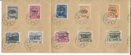 FIUME - 1921 - TAXE YVERT N° 15/26  OBLITERES SUR FEUILLET 4 VOLETS - Fiume