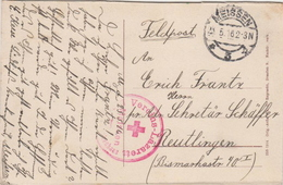 Germany ( Deutsches Reich) Feldpost Postcard From 1916 With Red Cross Cancel - Germany