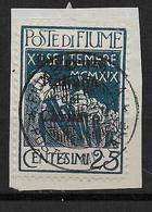 FIUME - 1920 - RARE YVERT N° 123 OBLITERE SUR FRAGMENT - COTE = 110 EUR. - Fiume