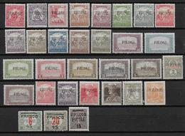 FIUME - 1919 - RARE SERIE YVERT N° 1/31 * MH CHARNIERE CORRECTE - COTE = 655 EUR. - 8. WW I Occupation