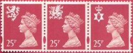 1996 GB Machin Litho Regionals Strip Of 3 X 25p - Scotland SG S84 Wales SG W73 Northern Ireland SG NI72 - UM / MNH - 1952-.... (Elizabeth II)