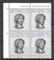 """San Marino 1975 15° Anniversario Esposizione Filatelica Internazionale """"Europa"""" Serie Completa Nuova/mnh** In Quartina - San Marino"""