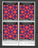 """San Marino 1975 Congresso Internazionale """"Eurocophar"""" Serie Completa Nuova/mnh** In Quartina - San Marino"""