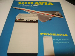 ANCIENNE AFFICHE   MACHINE A LAVE GIRAVIA ET CONCORDE 1969 - Affiches
