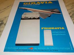 ANCIENNE AFFICHE   MACHINE A LAVE GIRAVIA ET CONCORDE 1969 - Publicidad