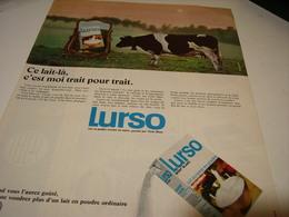 ANCIENNE AFFICHE PUBLICITE LAIT EN POUDRE LURSO 1969 - Affiches