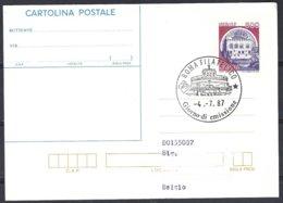 Intero Postale 500L  1° Giorno Castello Monselice  1987, Viaggiato - 1946-.. République